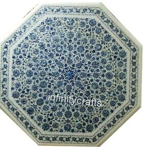 Octagon Shape White Dining Table Heritage Crafts Inlaid Office Table 48 Inches