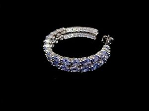 Natural Oval Cut Tanzanite 4*3mm & CZ 14k White Gold 925 Sterling Silver Earring