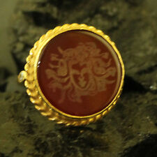 Handmade Hammered Designer Medusa Cover Carnelian Ring Gold Over Sterling Silver