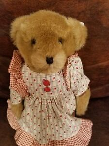 "Tender Heart Treasures 12"" Jointed Bear Suede paws/f Apple Anne 1992 Apple Dress"