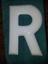 """VINTAGE LARGE PORCELAIN ENAMEL METAL SIGN LETTER """"R""""  15"""" TALL WHITE"""