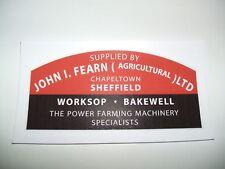 'JOHN I FEARN' SHEFFIELD,WORKSOP,BAKEWELL- DEALERS DECALS (MF 168 TRACTOR)