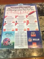Vintage McDonald's & The Buffalo Bills NFL 1993-94 Schedule And Advertising