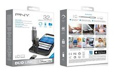 PNY 32 GB USB 3.0 OTG FLASH DRIVE DUO LINK MADE FOR IPHONE & IPAD New 4K UltraHD