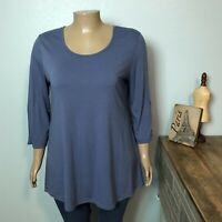 Simply Noelle Zip Back Tunic Shirt Top 2XL 16 18 Misses French Blue 3/4 Sleeve