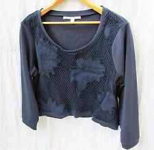 LC Lauren Conrad Long Sleeved Cropped Top Navy net cutout overlay Women XL