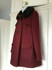 TopShop Burgundy Maroon Red Swing A Line Coat Faux Fur Collar