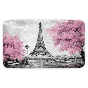 Pink Flower Eiffel Tower Shower Curtain Toilet Cover Rug Mat Contour Rug