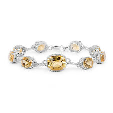 18.40 ct Bracelet Genuine Citrine Cushion Gemstone 925 Sterling Silver 7 inches