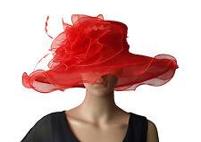 Elegante Cappello da donna rosso Organza Sposa Di Matrimonio