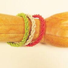 Set of 3 Green Red Cream Handmade Beaded Twisted Rope Seed Bead Bracelets