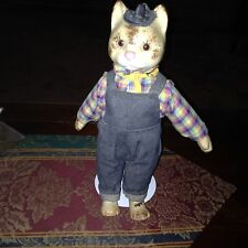 "Vintage Porcelain/Cloth Body Cat 13"" Tall,  In Denim Coveralls!"