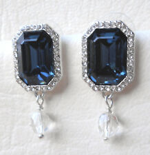 Blue and clear crystal rectangle stud earrings in silver tone Approx.3 by 1.5cm