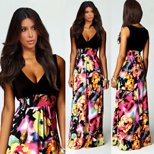 UK Ladies Boho Maxi Summer Beach Long Skirt Cocktail Party Floral Dress SZ 8-20