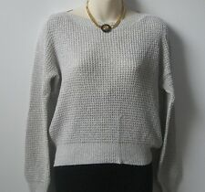 Boat neck Ribbed Grey & Silver Acrylic Jumper Size 12  #Sunday Market