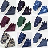 Men Trendy Paisley Plaid Floral 6CM Necktie Pocket Square Handkerchief Set