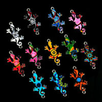 Wholesale 10Pcs Mixed Colors Gecko Connectors Charm DIY Necklace Jewelry Making