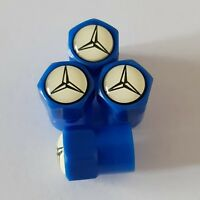 MERCEDES BLUE Plastic Wheel Valve Dust caps all models 7 colours B-CLASS AMG CLA