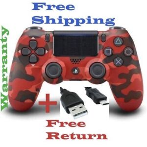Dualshock 4 Wireless Controller Red Camouflage for Sony PlayStation 4+ USB Cable