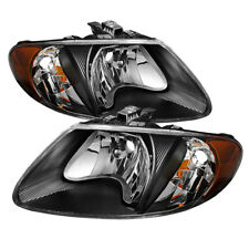 Dodge 01-07 Caravan Town & Country Black Housing Replacement Headlights Pair Set