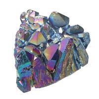Purple Rainbow Aura Quartz Natural Point Cluster Gemstone Crystal Home Decor
