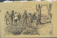 Original Old Antique Print C1881 Professor Swiggle Hunting Country Lane 19th