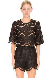 Keepsake True Faith Black Lace Cut Out Silk Crop Top T Shirt Embroidery  M 10