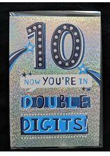 Age 10 Boy Happy Birthday Card - Holographic Background Blue Boys 10th 35063