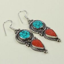 New Arrival Unique Turquoise & Red Coral Tibetan Earring NE-7169