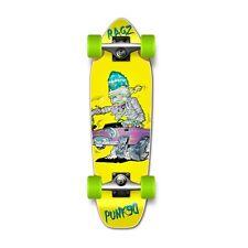 Punked Hot Rod Ragz Yellow Graphic Complete Longboard Mini Cruiser Skateboard
