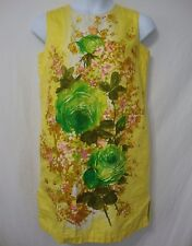 Vintage 60s Florida Handprints Womens sz 12 Mod Dress Yellow Floral Knee Length