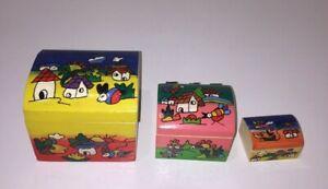 Hand Painted Nesting Boxes Wooden Keepsake Jewelry Trinket Box Set of 3 Honduras