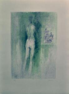 GIUSEPPE AJMONE litografia FIORI AZZURRI  61x46 anno 1972 firmata numerata