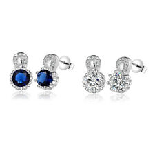 Sterling Silver Plated Earrings Butterfly Stud Zirconia Push Back Clasp L691