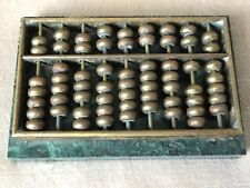 Antique Chinese Qing Dynasty Gilt Bronze Bead Game Coin Counter On Marble Base
