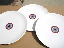 IKEA  SET OF 3  PORCELAIN DINER  PLATES 10''  MADE IN PORTUGAL WHITE/RED