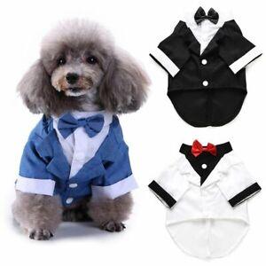 Pet Puppy Dog Costume Black Apparel Tuxedo Wedding Suit for Medium Small Dogs