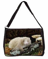 Albino Hedgehog Wildlife Large Black Laptop Shoulder Bag Christmas Gift Ahe-1sb