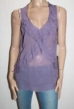 UCW Brand Grape Chiffon Frill Front Sleeveless Blouse Top Size 14-L BNWT #SR21