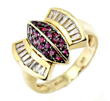 14k Yellow Gold Ruby and Diamond Ring Size 7
