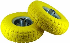 """2 x10"""" Solid Rubber Tyre Wheel Replacement No More Flats Sack Truck Trolley Cart"""