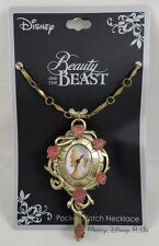 -new-disney-beauty-and-the-beast-rose-enchanted-mirror-pocket-watch-necklace