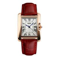 Skmei Beautiful Women's Watch Square Rose Gold Roman Numerals Real Leather Strap