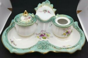 Vintage 19th Century German Porcelain Inkwell Ink Stand Tray Turquoise  Gold