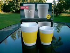 """SET OF 4 BODUM CANTEEN MUGS 2@ 3.25"""" & 2 @ 4"""" YELLOW IN COLOR  NEW IN BOXES"""