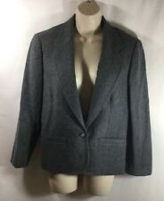 PENDELTON Women's 10 Grey 100% Virgin Wool Suit Jacket Blazer Solid Dark Gray