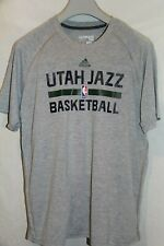 Mens Utah Jazz Basketball Adidas Climalite Polyester Heathered Gray T-shirt XL