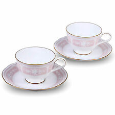 NEW Noritake Lacewood Gold set of 2 pink fine porcelain cups NO SAUCERS