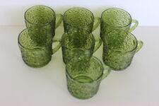 "Vintage 8 Soreno Avocado Green Bark Small Cups with Handle Anchor Hocking 2.75"""