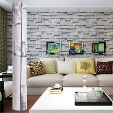 Large 10m PVC 3D Embossed Textured Brick Wallpaper Wall Paper Rolls 33ft. Grey